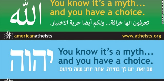 Atheist Group Targets Muslims, Jews With 'Myth' Billboards In Arabic and Hebrew