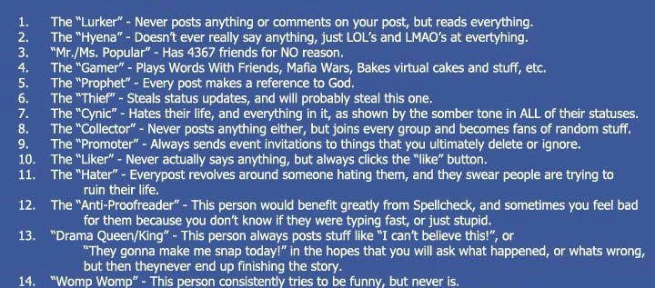 There Are 16 Types Of People On Facebook&#8230;