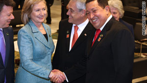 Hugo Caesar Chavez & Hillary Clinton Have Short Meeting At Brazilian Inauguration