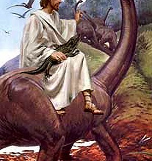 Jesus Riding A Dinosaur?