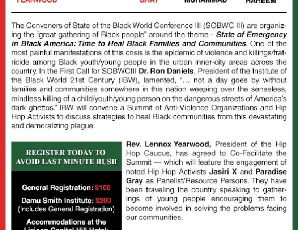 [EVENT] State of the Black World Conference Nov 14-18. 2012 @HowardU