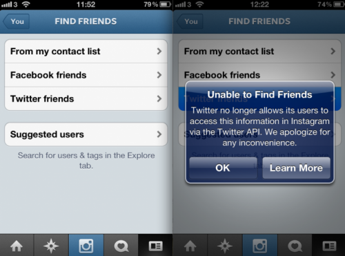 "Twitter Delivers A Big Blow To Instagram Blocking ""Friend Finder"" API"