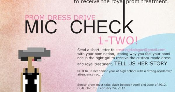 "Mic Check 1-Two Presents: Prom Dress Drive – Nominate A ""Special Girl"" to Win!"